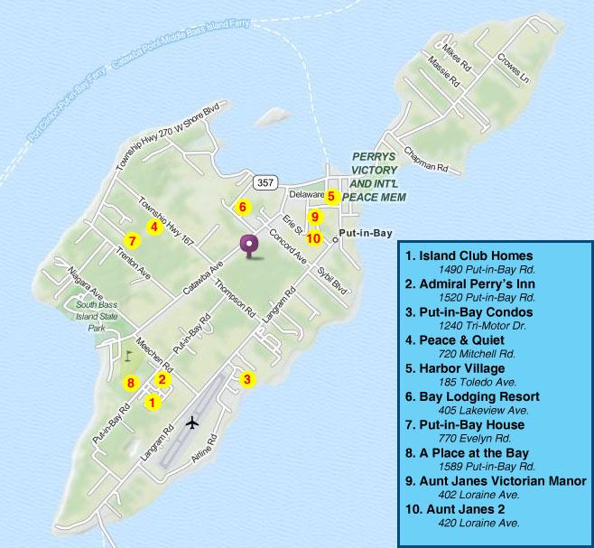 Put In Bay Ohio Maps Island Club Putinbay Lodging Vacation Home